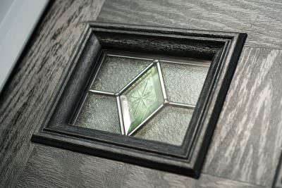 Composite door glass and leading