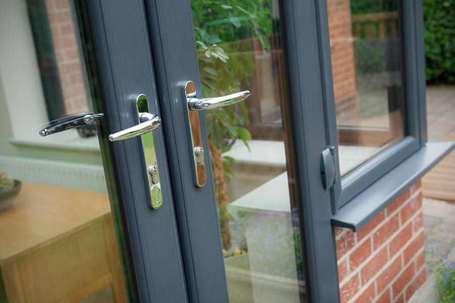 French doors homeglaze quality windows doors porch for Upvc french doors grey