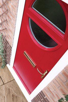 Red fire door installation