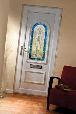 White uPVC entrance door with leaded glass