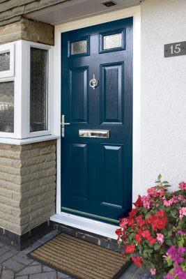 Blue composite entrance door
