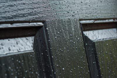 Black composite door close up