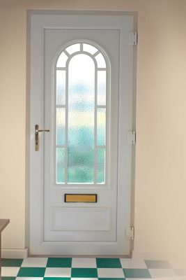 White uPVC entrance door with large window