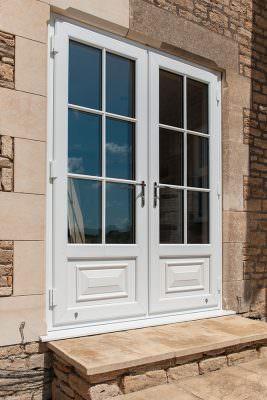 White uPVC french door installation