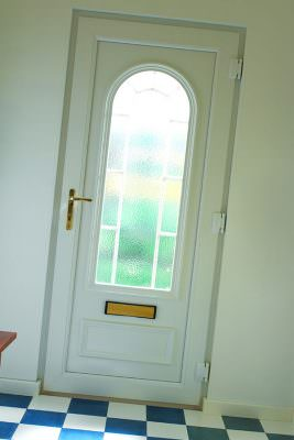 White uPVC home entrance door