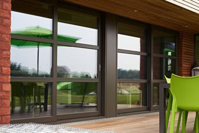 Black uPVC sliding patio doors