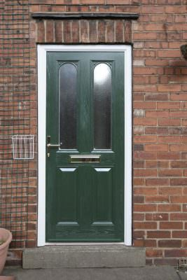 green composite entrance door