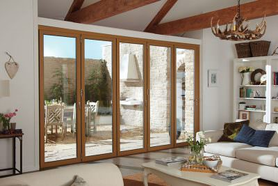 Oak effect aluminium bifold door