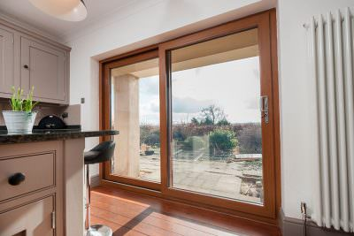 Oak effect patio doors interior view