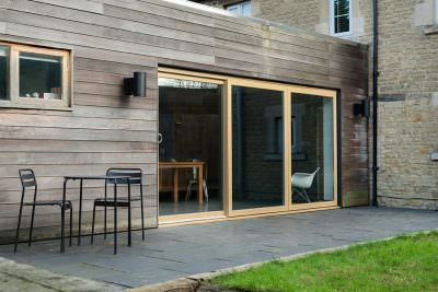 Oak effect uPVC sliding patio door