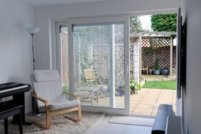 White uPVC patio doors open