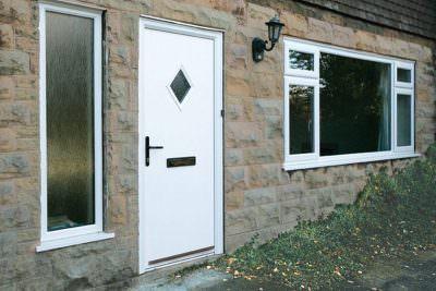 White composite entrance door