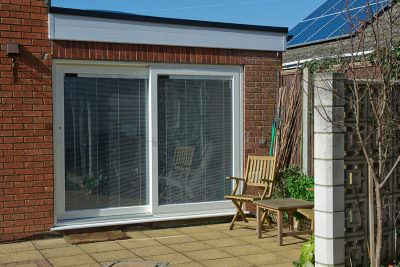 White uPVC patio door installation