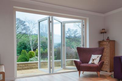 White uPVC bifold door - add value to your home