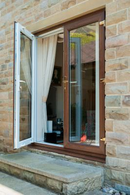 Dual colour uPVC french door