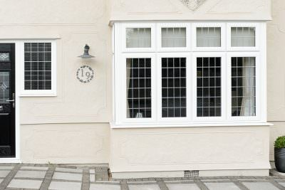 White uPVC casement bow window