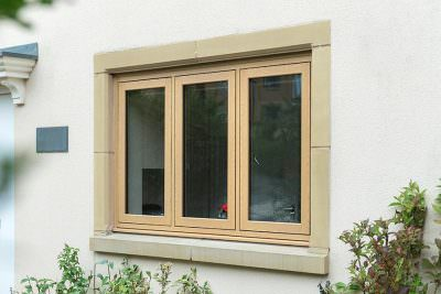Oak effect flush sash window- flush windows