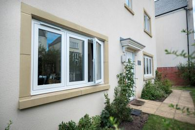 White flush sash window installation